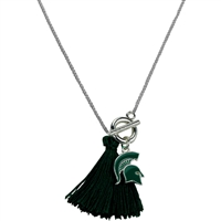 College Fashion Michigan State University Logo Charm Tassel Norma Necklace Lobster Clasp