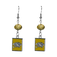 Silver Beaded Drop Earrings Missouri Tigers