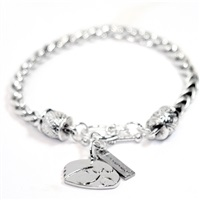 Sterling Silver Rope Charm Bracelet for Iowa Hawkeye