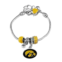 College Fashion Crystal University of Iowa Logo Charms Betsy Bracelet