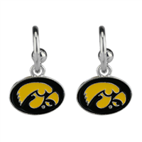 Dangle Logo Earrings Silver College Hawkeyes