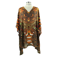 Brown Mixed Dashiki Top