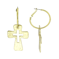 Beautiful Hammered Rounded Cross Silhouette Matte Gold Hoop Earrings