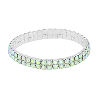 Gorgeous & Sparkling 4mm Iridescent Crystals 2 Line Stretch Bracelet