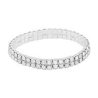 Gorgeous & Sparkling 4mm Clear Crystals 2 Line Stretch Bracelet