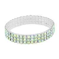Gorgeous & Sparkling 4mm Iridescent Crystals 3 Line Stretch Bracelet