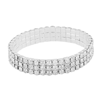 Gorgeous & Sparkling 4mm Clear Crystals 3 Line Stretch Bracelet