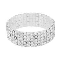 Gorgeous & Sparkling 4mm Clear Crystals 5 Line Stretch Bracelet