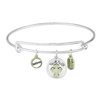 Stylish Spiritual Believe Have Faith Charms Two-Tone Push Bangle Bracelet