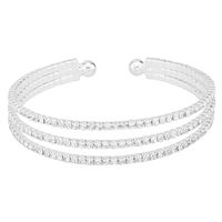 Glamorous & Glistening Crystals 3 Row Open Cuff Bangle Bracelet