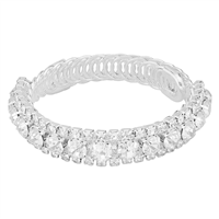Sparkling & Dazzling Half Clear Crystal Silver Wrap Around Bangle Bracelet
