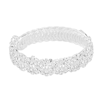 Sparkling & Dazzling Braid Pattern Clear Crystal Silver Wrap Around Bangle Bracelet