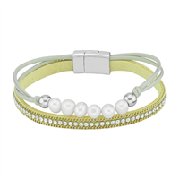 Simple & Stylish Cream Pearls & Wrap Around Crystals Beige & Silver Magnetic Bracelet