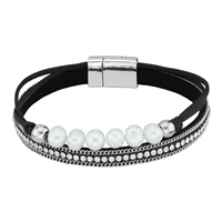 Simple & Stylish Cream Pearls & Wrap Around Crystals Black & Silver Magnetic Bracelet