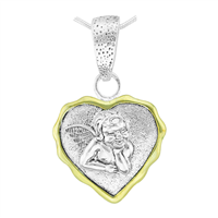 Cute Spiritual Valentine Two-Tone Angel Heart Pendant Charm