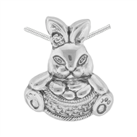 Springtime Silver Toned Easter Bunny Basket Pendant Charm
