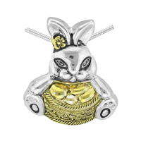 Springtime Two-Toned Easter Bunny Basket Pendant Charm
