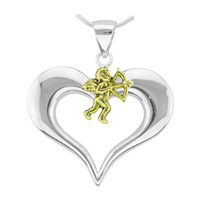 Loving Valentine Two-Tone Cupids Heart Pendant Charm