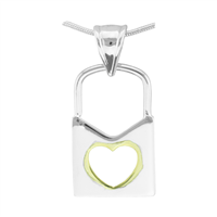 Simple & Cute Valentine Two-Tone Lock Heart Cut-Out Pendant Charm