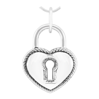 Unique & Beautiful Silver Heart Lock Pendant Charm