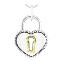 Unique & Beautiful Two-Tone Heart Lock Pendant Charm