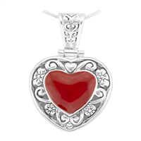 Unique & Stylish Reversible Silver & Red Heart Pendant Charm