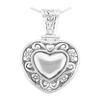 Unique & Stylish Reversible Silver Heart Pendant Charm
