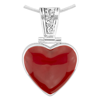 Loving Valentine Reversible Silver & Red Heart Pendant Charm