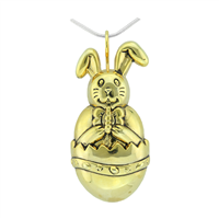 Springtime Gold Toned Easter Bunny Cracked Egg Versatile Pin Pendant Charm