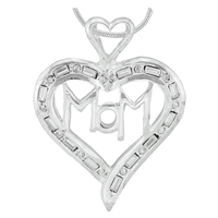 Stylish Silver Clear Rectangle Crystals Heart Mom Charm Mother's Day Pendant