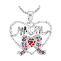 Stylish Silver Twisted Heart Mom Red & Pink Crystal Ribbon Charm Mother's Day Pendant
