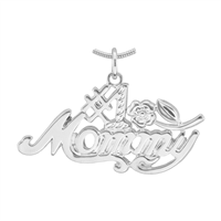 Worlds Greatest #1 Mommy Silver Pendant Charm