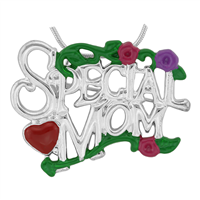 Stylish Multi-Colored Special Mom Floral Heart Charm Mother's Day Pin Brooch Pendant
