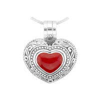Small & Cute 2 in 1 Silver & Red Heart Pendant Locket Charm