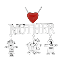Stylish Silver & Red Mother & Kids Charm Mother's Day Pin Brooch Pendant