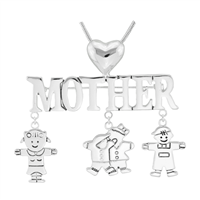 Stylish Silver Mother & Kids Charm Mother's Day Pin Brooch Pendant