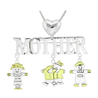 Stylish Two-Tone Mother & Kids Charm Mother's Day Pin Brooch Pendant