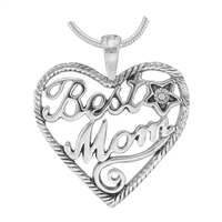 Stylish Silver Twisted Heart Best Mom Clear Crystal Star Charm Mother's Day Pendant