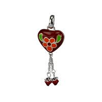 Red Heart Flower Pendant