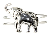 Stylish Silver Floral Elephant Hinge Bangle Bracelet