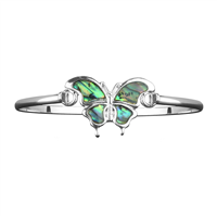 Iridescent & Silver Butterfly Charm Bangle Bracelet