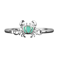 Turquoise & Silver Crab Charm Bangle Bracelet
