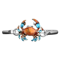 Blue, Orange & Silver Crab Charm Bangle Bracelet