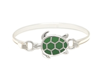 Stylish Silver & Green Sea Turtle Charm Bangle Wholesale Bracelet