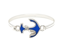 Stylish Silver & Blue Anchor Charm Bangle Wholesale Bracelet