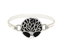 Stylish Silver & Black Round Tree of Life Charm Bangle Wholesale Bracelet