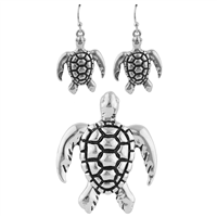 Black & Silver Sea Turtle Pendant Set