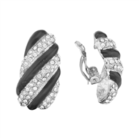Beautiful Black Striped Crystal Silver Clip-On Earrings