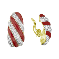 Beautiful Red Striped Crystal Gold Clip-On Earrings