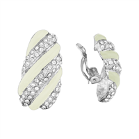 Beautiful White Striped Crystal Silver Clip-On Earrings